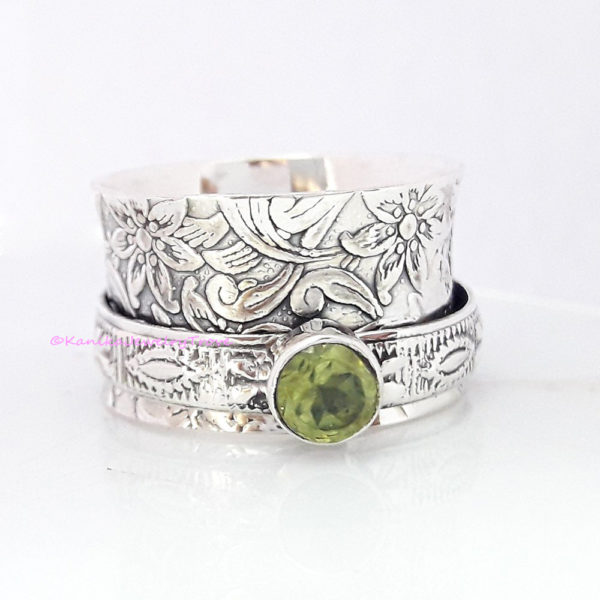Silver Jewelry Copper Ring Gemstone Ring Woman Ring Peridot Ring Handmade Ring Beatiful Ring 925 Sterling Silver Ring Spinner Ring