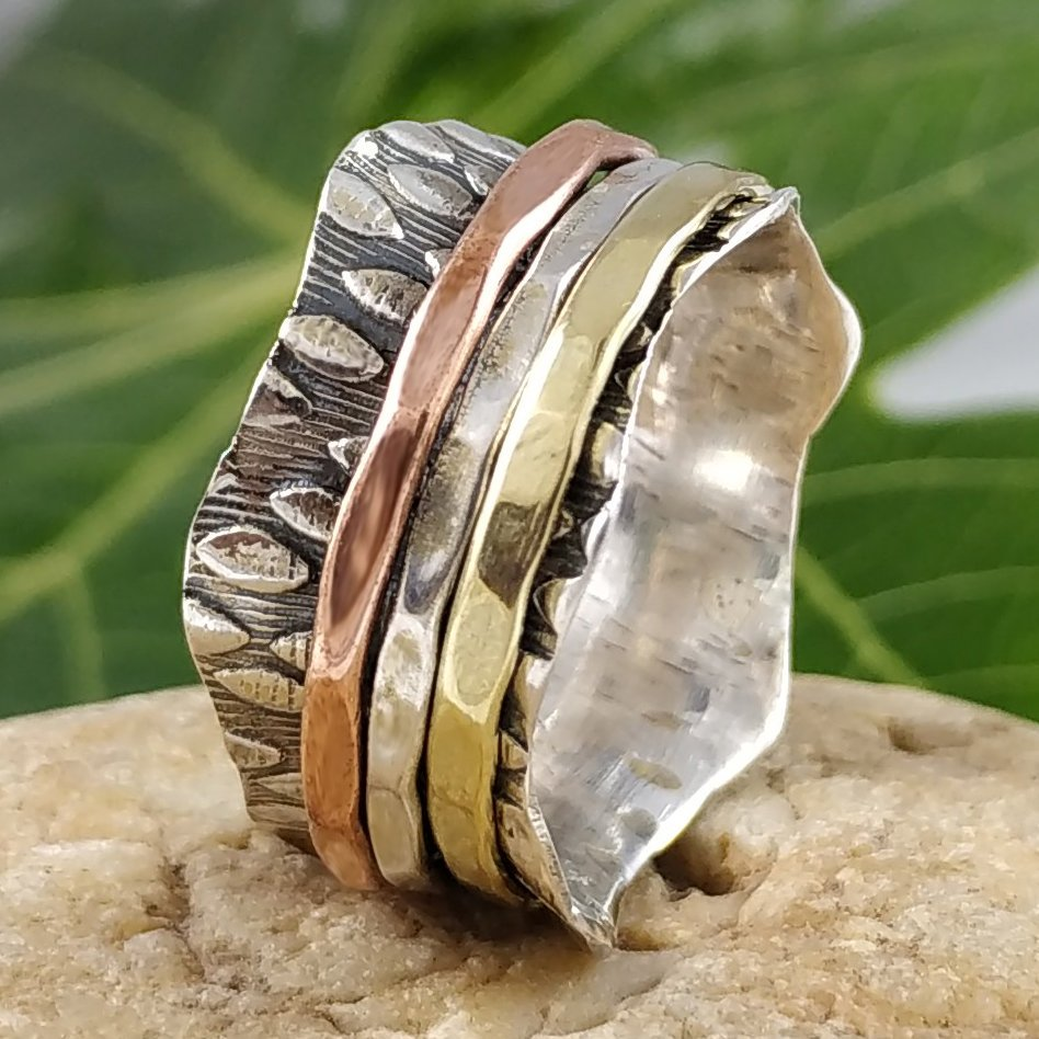 925 Sterling Silver Three Tone Thumb Band Meditation Spin Spinner Ring Jewelry