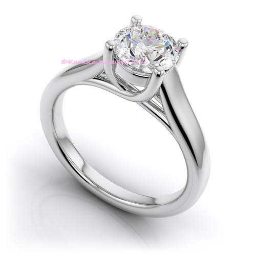 Women Sterling Silver Solitaire Cubic Zirconia Engagement Rings