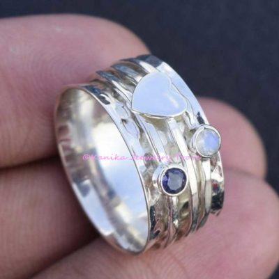 amethyst moonstone heart spinner ring
