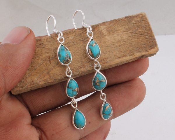 Blue Turquoise Earrings Oval Turquoise Dangle Earrings Howlite Stone /& Silver Drop Earrings Turquoise Jewelry Howlite Jewelry
