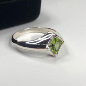 square peridot rings silver