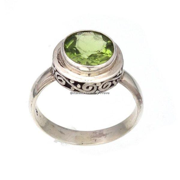 August Birthstone Rings-Green Gemstone Rings-Square Shape Peridot Rings-925 Sterling Silver Rings For Womens-Girls Gift Rings