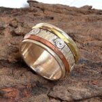 925-Sterling-Silver-Band-Brass-and-Copper-Spinner-Ring-for-Women-Anxiety-Ring-for-Meditaion-Gift-Ring-for-Mothers-Da-B07R9N2LC7