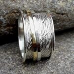 925-Sterling-Silver-Band-Brass-and-Copper-Spinner-Ring-for-Women-Anxiety-Ring-for-Meditaion-Thumb-Rings-Gift-Ring-fo-B07R5FTYBT