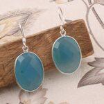 925-Sterling-Silver-Dangle-Earrings-Oval-chalcedony-Earring-Drop-Earrings-B07SRZWGQM