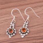 925-Sterling-Silver-Earrings-for-Women-Drop-Earrings-Round-Citrine-Earring-Dangle-Earrings-B07SRZRWJ5