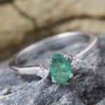 925-Sterling-Silver-Emerald-Diamond-Engagement-Ring-B07L2TXB7S