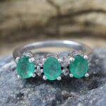 925-Sterling-Silver-Emerald-Diamond-Engagement-Ring-B07L2V62XX