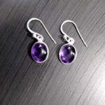 925-Sterling-Silver-Purple-Amethyst-Oval-Dangle-Earrings-Gift-for-Women-Simple-Beautiful-Earrings-for-Women-February-B-B07KX74RWM