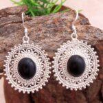Black-Onyx-Gemstone-Sterling-Silver-Boho-Drop-Earrings-for-Women-and-Girls-Bezel-Set-Ear-Wire-Earrings-Black-Bridesmai-B08K62R9VK-2