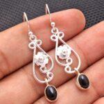 Black-Onyx-Gemstone-Sterling-Silver-Floral-Drop-Earrings-for-Women-and-Girls-Bezel-Set-Ear-Wire-Earrings-Black-Bridesm-B08K5ZLDLR-2