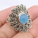 Blue-Chalcedony-925-Sterling-Silver-Flower-Ring-Jewelry-B07QL9WV66