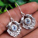 Blue-Topaz-Gemstone-Sterling-Silver-Dolfin-Fish-Dangle-Earrings-for-Women-and-Girls-Bezel-Set-Ear-Wire-Earrings-Blue-B-B08K63V459