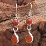 Carnelian-Gemstone-Sterling-Silver-2-tier-Drop-Earrings-for-Women-and-Girls-Bezel-Set-Ear-Wire-Earrings-Orange-Bridesm-B08K63DDHX-2