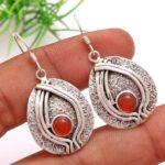 Carnelian-Gemstone-Sterling-Silver-Big-Drop-Earrings-for-Women-and-Girls-Bezel-Set-Ear-Wire-Earrings-Orange-Bridesmaid-B08K61PTL7