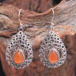 Carnelian-Gemstone-Sterling-Silver-Boho-Drop-Earrings-for-Women-and-Girls-Bezel-Set-Ear-Wire-Earrings-Orange-Bridesmai-B08K63WF1Y-2