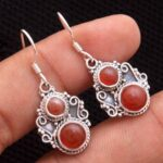 Carnelian-Gemstone-Sterling-Silver-Dangle-Earrings-for-Women-and-Girls-Bezel-Set-Ear-Wire-Earrings-Orange-Bridesmaid-E-B08K61J2TK