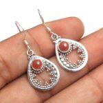 Carnelian-Gemstone-Sterling-Silver-Drop-Earrings-for-Women-and-Girls-Bezel-Set-Ear-Wire-Earrings-Orange-Bridesmaid-Ear-B08K63MDSZ-2