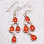 Carnelian-Gemstone-Sterling-Silver-Drop-Earrings-for-Women-and-Girls-Bezel-Set-Ear-Wire-Earrings-Orange-Bridesmaid-Ear-B08K642PWW-2