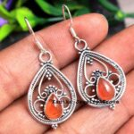 Carnelian-Gemstone-Sterling-Silver-Drop-Earrings-for-Women-and-Girls-Bezel-Set-Ear-Wire-Earrings-Red-Bridesmaid-Earrin-B08K63ZDL4