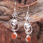 Carnelian-Gemstone-Sterling-Silver-Floral-Drop-Earrings-for-Women-and-Girls-Bezel-Set-Ear-Wire-Earrings-Orange-Bridesm-B08K5YRXS4