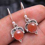 Carnelian-Gemstone-Sterling-Silver-Small-Dangle-Earrings-for-Women-and-Girls-Bezel-Set-Ear-Wire-Earrings-Orange-Brides-B08K61NDB2-2
