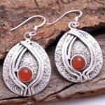 Carnelian-Gemstone-Sterling-Silver-Textured-Drop-Earrings-for-Women-and-Girls-Bezel-Set-Ear-Wire-Earrings-Orange-Bride-B08K618NCT