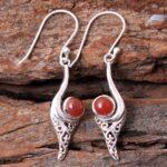 Carnelian-Gemstone-Sterling-Silver-Vintage-Drop-Earrings-for-Women-and-Girls-Bezel-Set-Ear-Wire-Earrings-Orange-Brides-B08K63225V