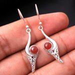 Carnelian-Gemstone-Sterling-Silver-Vintage-Drop-Earrings-for-Women-and-Girls-Bezel-Set-Ear-Wire-Earrings-Orange-Brides-B08K63225V-2