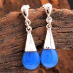 Chalcedony-Gemstone-Sterling-Silver-Bead-Drop-Earrings-for-Women-and-Girls-Bezel-Set-Pushback-Earrings-Blue-Bridesmaid-B08K625GPQ