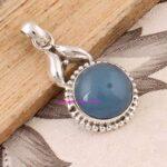 Chalcedony-Pendant-925-Sterling-Silver-Pendants-for-Womens-Round-Gemstone-Pendants-Handmade-September-Birthstone-Pend-B07V7VM3L5