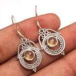 Citrine-Gemstone-Sterling-Silver-Drop-Earrings-for-Women-and-Girls-Bezel-Set-Ear-Wire-Earrings-Yellow-Bridesmaid-Earri-B08K64247N