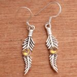 Citrine-Gemstone-Sterling-Silver-Leaf-Drop-Earrings-for-Women-and-Girls-Bezel-Set-Ear-Wire-Earrings-Yellow-Bridesmaid-B08K61CD6S-2
