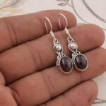Color-Gemstone-Silver-Earrings-for-Women-Dangle-Earrings-Oval-Garnet-Earring-Drop-Earrings-B07SRZQDP1-2