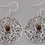 Color-Gemstone-Silver-Earrings-for-Women-Dangle-Earrings-Oval-Tiger-Eye-Earring-Drop-Earrings-B07SR46MS3
