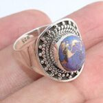 Copper-Purple-Turquoise-925-Sterling-Silver-Rings-Handmade-Jewelry-B07L2TS247