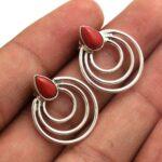 Coral-Gemstone-Sterling-Silver-Swirl-Dangle-Earrings-for-Women-and-Girls-Bezel-Set-Pushback-Earrings-Red-Bridesmaid-Ea-B08K61K9NK-2