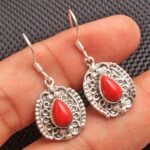 Coral-Gemstone-Sterling-Silver-Vintage-Dangle-Earrings-for-Women-and-Girls-Bezel-Set-Ear-Wire-Earrings-Red-Bridesmaid-B08K63ZQ6S