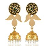 Cubic-Zirconia-Pearl-Yellow-Gold-Plated-Brass-Dangle-Earrings-B07THLX91R