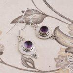 Drop-Earrings-Dangle-Earrings-Sterling-Silver-Earrings-for-Christmas-Round-Amethyst-Earrings-B07S34JJDY