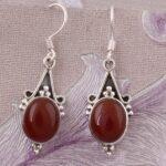Drop-Earrings-Round-Red-Onyx-Earrings-Dangle-Earrings-Color-Gemstone-Silver-Earrings-for-Women-B07S23M5ND