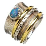Ethiopian-Opal-Spinner-Ring-Three-Band-Ring-Anxiety-Ring-Sterling-Silver-Textured-Ring-Statement-Ring-B07RWQB9SZ