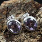 Faceted-Amethyst-925-Sterling-Silver-Earrings-Stud-Earrings-B07JFMTBJ9