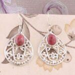 Filigree-Dangle-Earrings-Oval-Rhodochrosite-Earrings-Drop-Earrings-Sterling-Silver-Earrings-for-Summer-Gift-B07S23P386