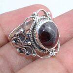Garnet-Gemstone-925-Sterling-Silver-Rings-Handmade-Jewelry-B07L2V3QZX