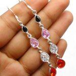 Garnet-Gemstone-Sterling-Silver-4-tier-Drop-Earrings-for-Women-and-Girls-Bezel-Set-Ear-Wire-Earrings-Red-Bridesmaid-Ea-B08K63W5RD