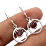 Garnet-Gemstone-Sterling-Silver-Dangle-Earrings-for-Women-and-Girls-Bezel-Set-Ear-Wire-Earrings-Red-Bridesmaid-Earring-B08K62XYXM-2