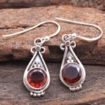 Garnet-Gemstone-Sterling-Silver-Drop-Earrings-for-Women-and-Girls-Bezel-Set-Ear-Wire-Earrings-Red-Bridesmaid-Earrings-B08K61LQPG-2