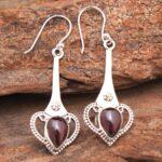 Garnet-Gemstone-Sterling-Silver-Drop-Earrings-for-Women-and-Girls-Bezel-Set-Ear-Wire-Earrings-Red-Bridesmaid-Earrings-B08K61Q3WC